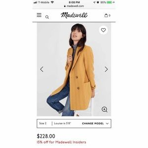 Madewell Hollis Double Breasted Coat in Stripe